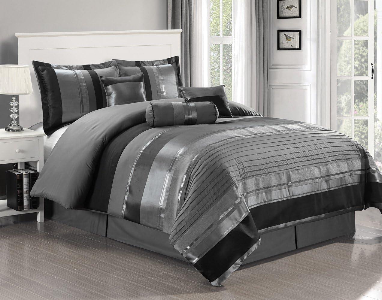 "7 Piece Oversize Grey / Black silver stripe Chenille Comforter set 106"" X 94"" King Size Bedding"