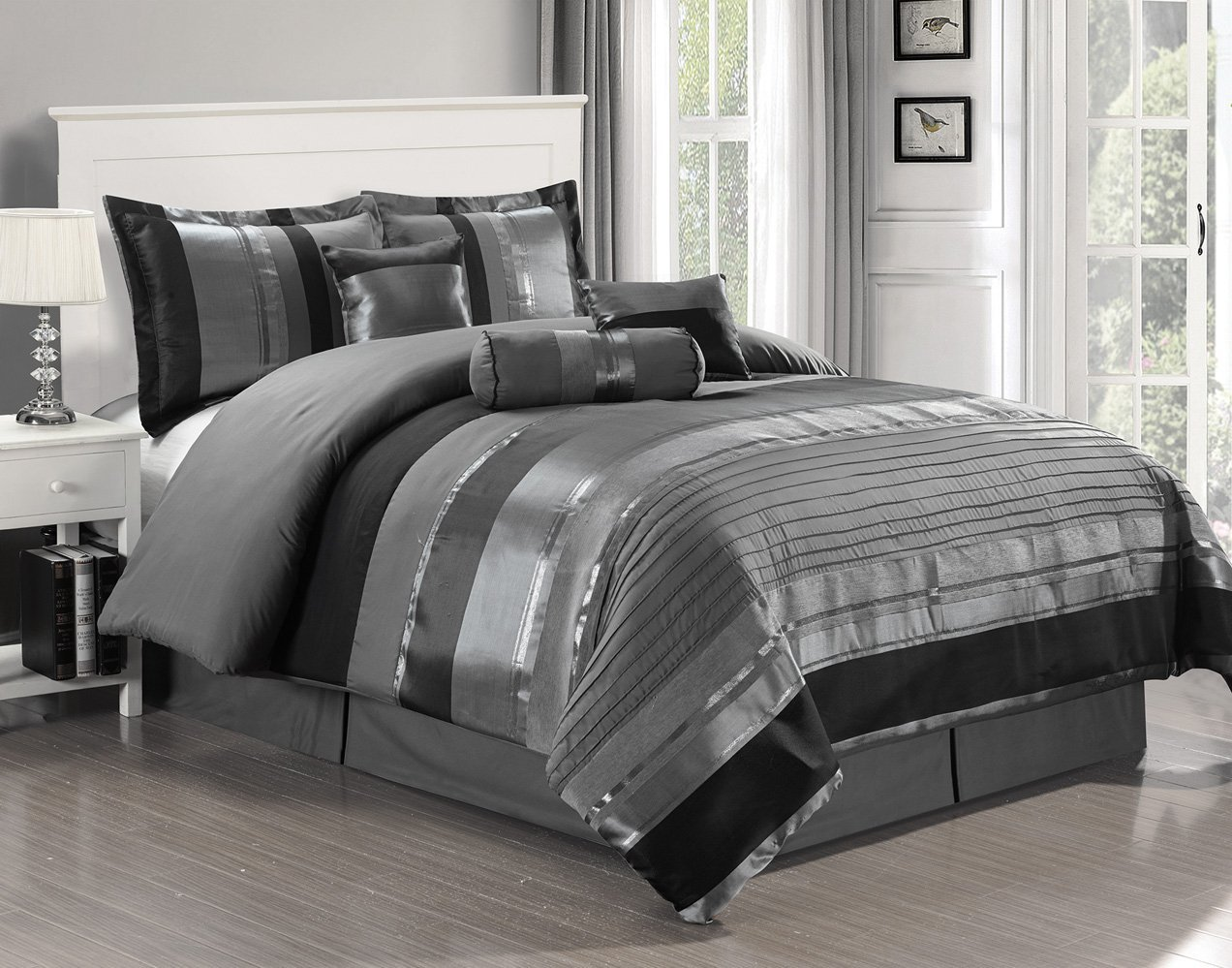 "7 Piece Oversize Grey / Black silver stripe Chenille Comforter set 94"" X 90"" Queen Size Bedding"