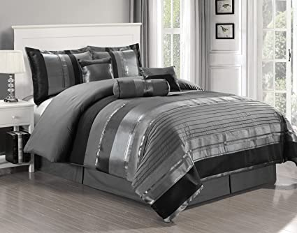 Amazon Com 7 Piece Oversize Grey Black Silver Stripe Chenille