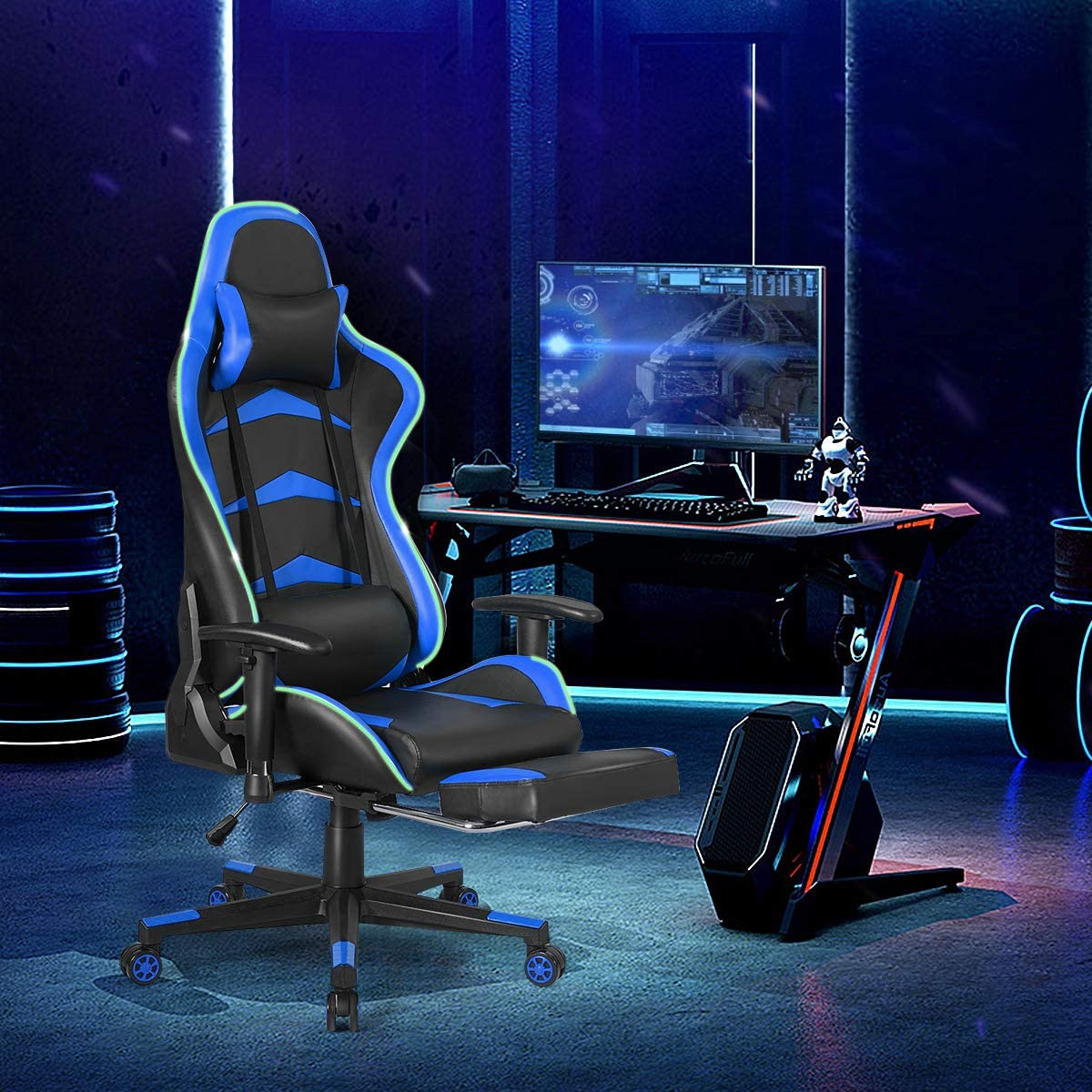 Swivel Rolling Ergonomic Computer Chair Headrest Lumbar Support Cushion Footrest Red PC Racing Gamer Chair Executive Office Chair Backrest Adjustable Armrest GOFLAME Gaming Chair with LED Light