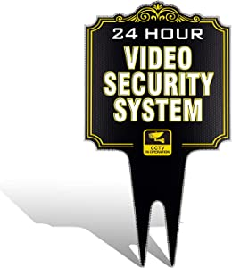 HISVISION Video Surveillance Yard Sign, 24 Hour Security Camera System in Operation, Heavy Duty Ground Stakes, Reflective Aluminum Panels, CCTV Warning Sign for Homes, Business, Private Property
