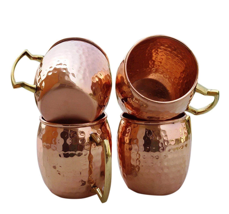 100% Pure Copper 100% Pure Coper Hand Hammered Copper Moscow Mule Mugs/Cups Copper 4 Mug + 1Bottle Set.BAS-76