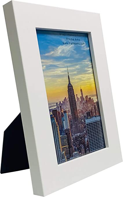 Frame Amo White 4x6 Picture Frame 1 Inch Wide Border Smooth Finish Glass Front For Wall Or Table