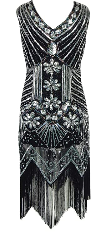 sekitoba-japan.inc Gatsby 1920s v Neck Beaded Fringed Flapper Dress for Women Black and Silver at Amazon Womens Clothing store: