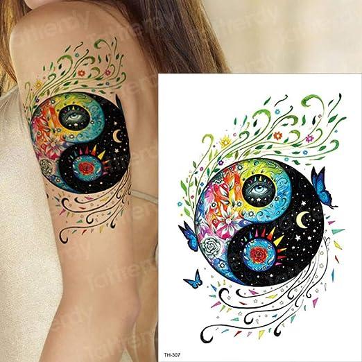 3pcsYin Yang Tatuaje y Body Art Mangas del Tatuaje Chica Acuarela ...