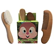 Baby Hair Brush & Comb Set for Newborn Babies and Toddlers   Natural Materials & Eco-Friendly Safe Brush for Cradle Cap   Brush Made from Real Goat Hair   Natural Wood Comb   Perfect Gift