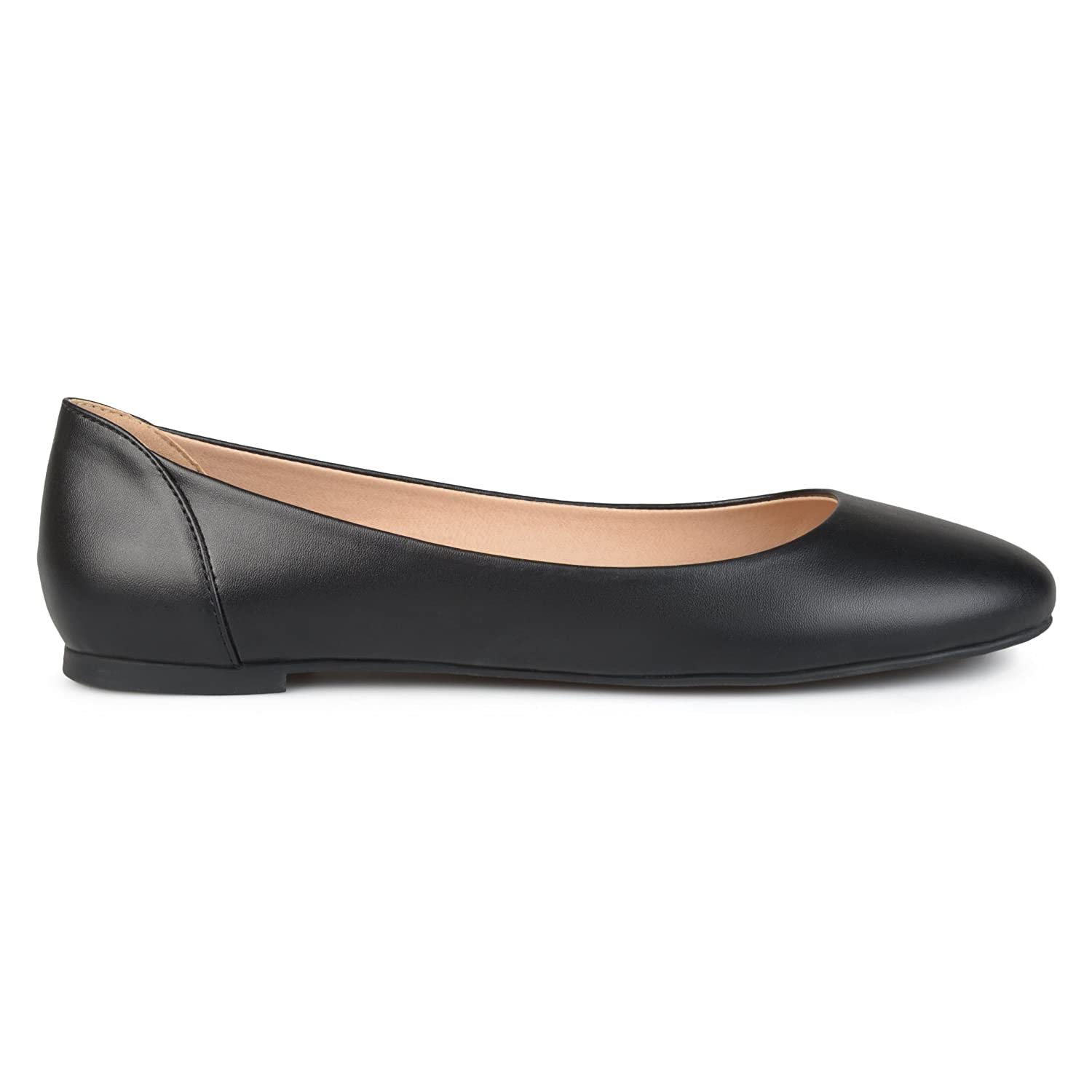 Brinley Co Womens Comfort Sole Faux Leather Round Toe Flats B073VT5RLX 6.5 B(M) US|Black