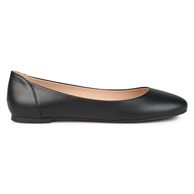 15a19886b1c1 Womens Comfort Sole Faux Leather Round Toe Flats Black