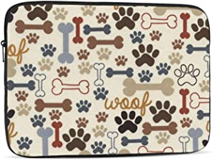 Dog Paw Prints Bones Laptop Sleeve 17 inch, Shock Resistant Notebook Briefcase, Computer Protective Bag, Tablet Carrying Case for MacBook Pro/MacBook Air/Asus/Dell/Lenovo/Hp/Samsung/Sony