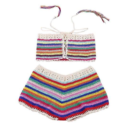9303947d88f91 Huitian23-swimwear Women s Retro Boho Flounce High Waist Bikini Set Handmade  Crochet Knitted Chic Swimsuit at Amazon Women s Clothing store