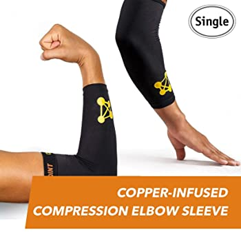 CopperJoint Copper-Infused Compression Elbow Sleeve, High-Performance Design Promotes Proper Blood Flow to Help Improve Circulation and Support Healing for All Lifestyles, Single Sleeve