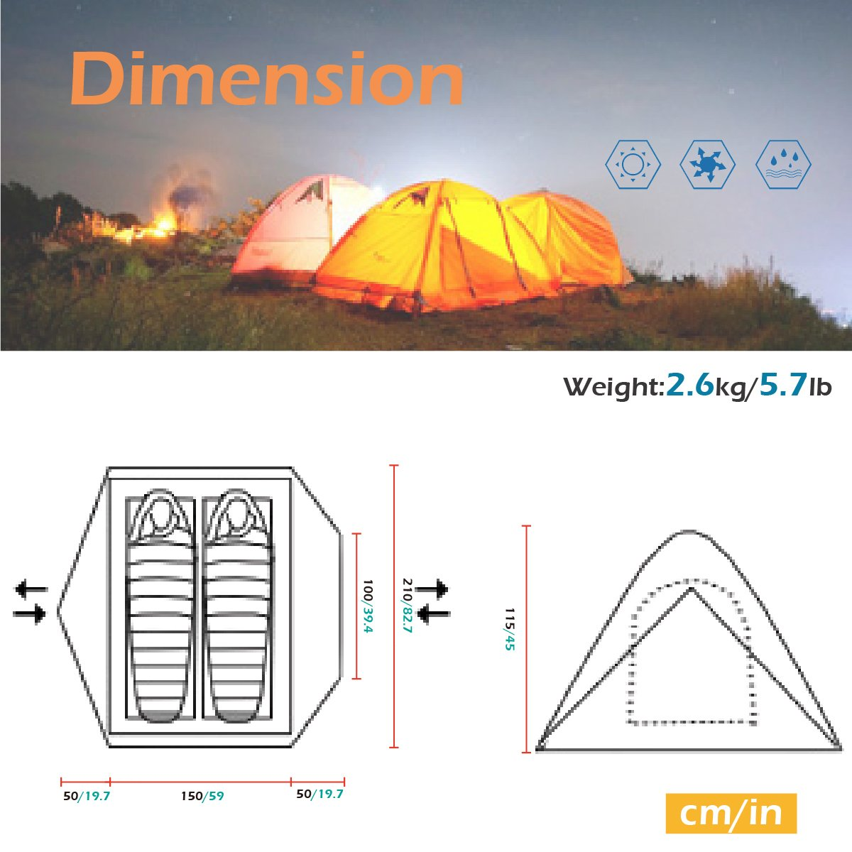 Azarxis 1 2 3 4 Person 3 4 Season Backpacking Tents Easy Set Up Waterproof Lightweight Professional Double Layer Aluminum Rod Tent for Camping Outdoor Hiking Travel