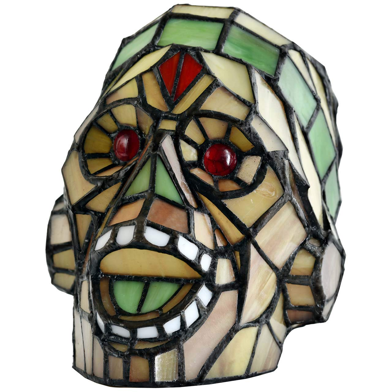 Bieye L10701 Laughing Skull Tiffany Style Stained Glass Accent Table Lamp Night Light for Bedside Living Room Bedroom, 9 Wide x 7 High Green Orange