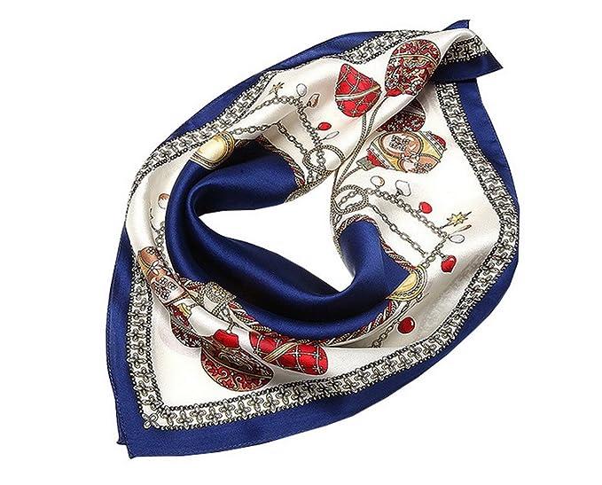 Evedaily - Foulard Écharpe Carré En Soie Imprimé Élégant Mode Silk Square  Scarves Pour Femme 53cm 53 cm - Chaîne-Orange  Amazon.fr  Vêtements et  accessoires 4c21f162588