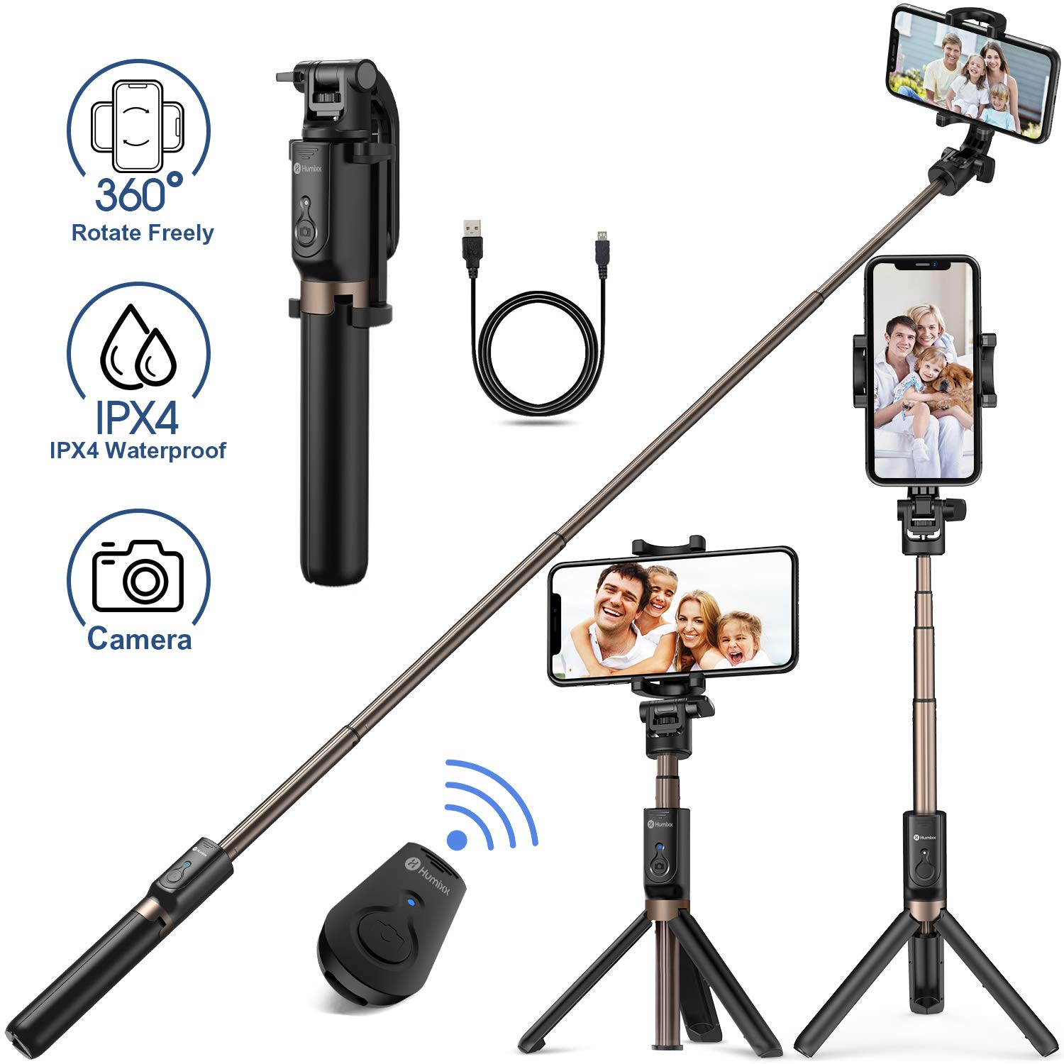 Humixx Selfie Stick, Buletooth 4-in-1 Extendable Selfie Stick Tripod 360° Rotation, Rechargeable Wireless Remote Shutter Compatible with iPhone XR/XS Max, Samsung S10+, Huawei P30, Go Pro and Cameras by Humixx (Image #1)