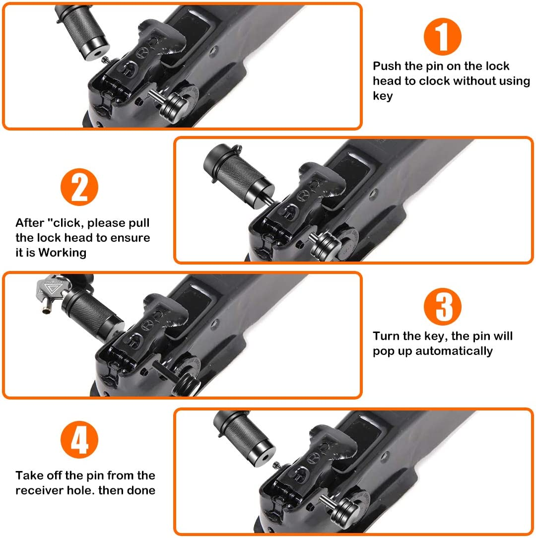 CZC AUTO Trailer Tongue Coupler Lock 2 Pack 2-1//2 Inch Span Fits Latch-Type Coupler for Towing Boat Truck RV Car Trailer Dia 1//4 Inch