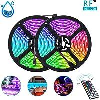 LED Strip Lights, 10M (5Mx2) 300LEDs 16RGB kleur veranderende ontmoette 44-Toetsen-RF Afstandsbediening, IP65 waterdicht…