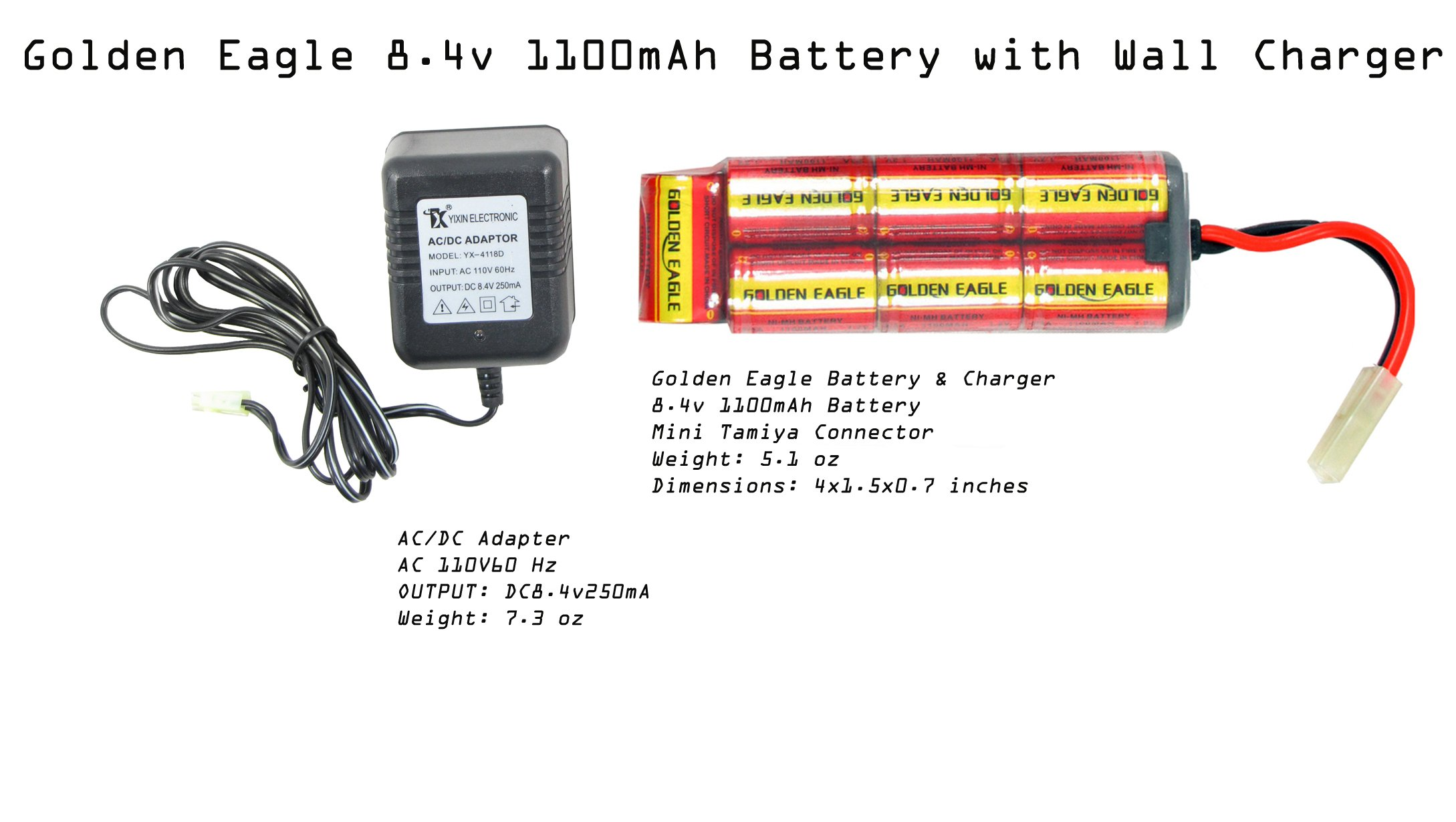 Golden Eagle/JG 8.4v 1100 mAh NiMH Battery and Charger with Mini Tamiya Jing Gong Airsoft Battery and Charger Package AEG Battery 1100