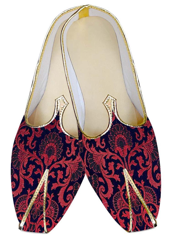 INMONARCH Rojo y Azul Hombres Zapatos de Boda Hechos a Mano MJ013027 40.5 EU