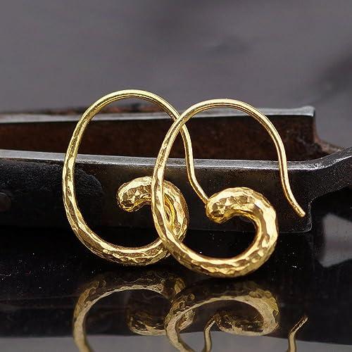 44e93f485489e Amazon.com: Sterling Silver 925 k Hammered Turkish Horn Earrings 24k ...