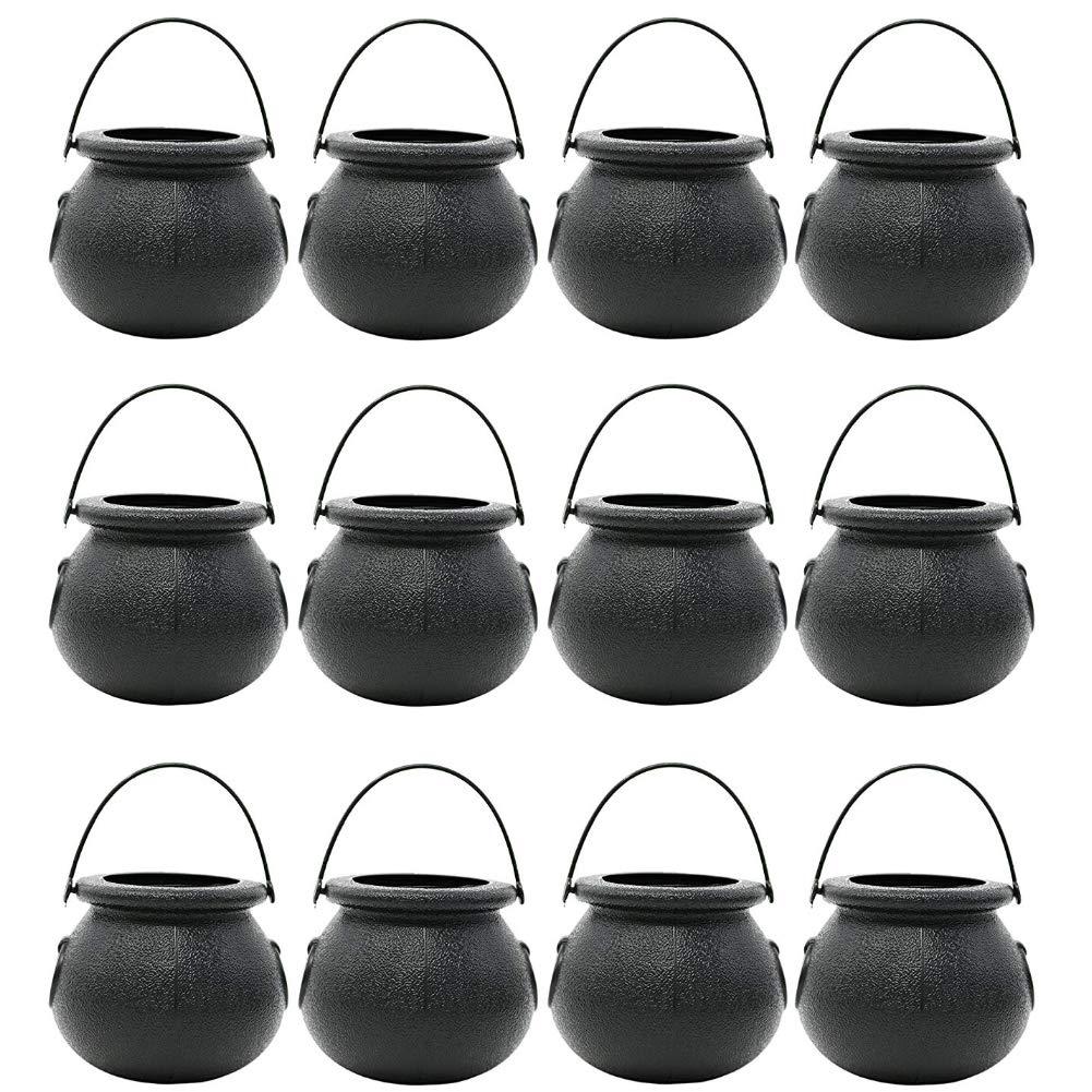 FuturePlusX Mini Black Candy Cauldron Kettles, 12PCS Plastic Candy Kettles Party Decoration Supplies for St. Patricks Day