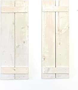 New England Wood Crafters Handcrafted Solid Pine Decorative Wall Shutters for Shabby Chic, Cottage & Rustic Farmhouse Home Décor (White)