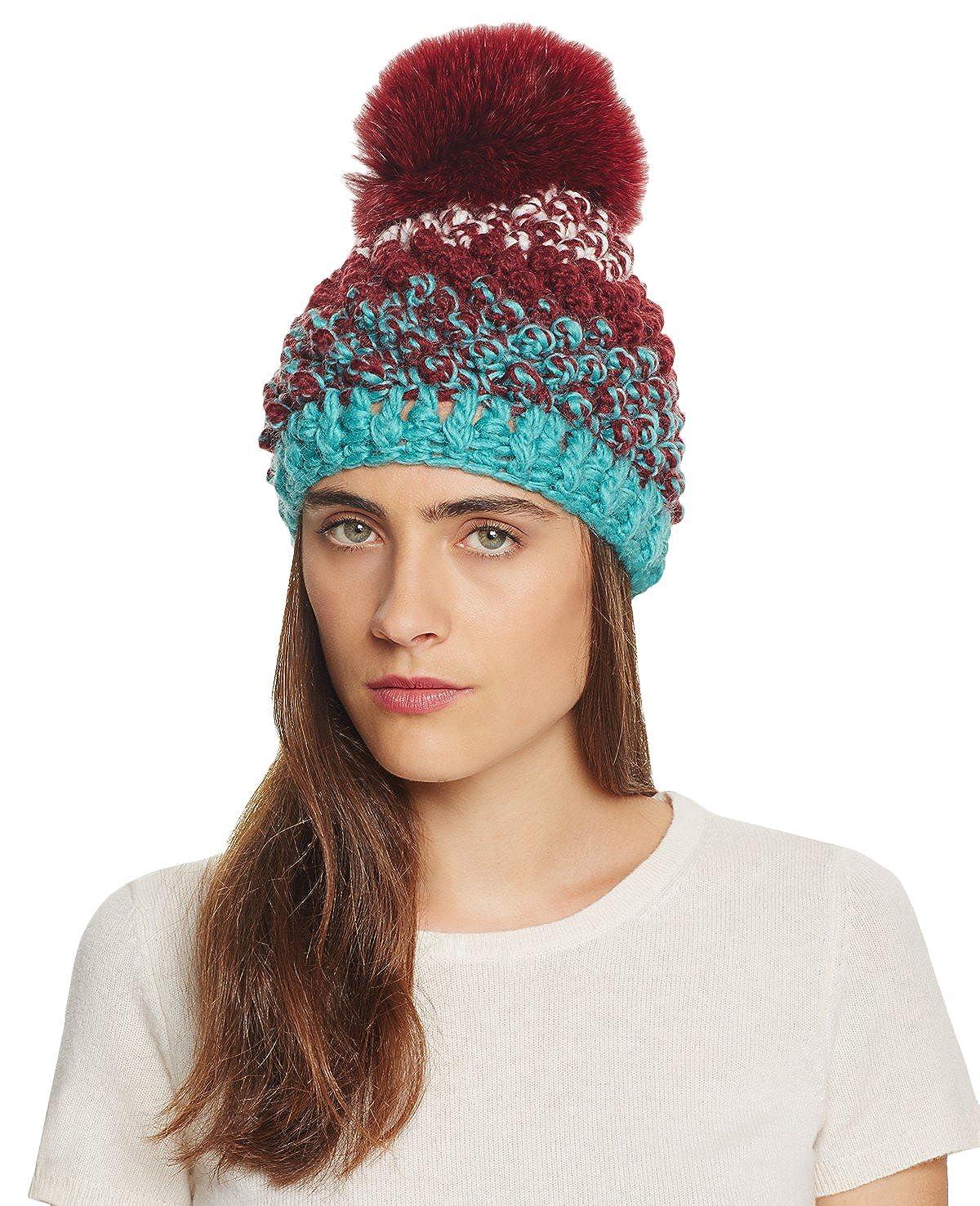 Kyi Kyi Canada Women s Popcorn Knitted Beanie Hat with Fox Fur Pom ... 2dda56a1ffc8