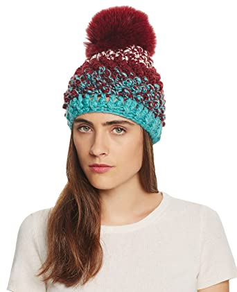 a3d827ad61d34 Kyi Kyi Canada Women s Popcorn Knitted Beanie Hat with Fox Fur Pom ...