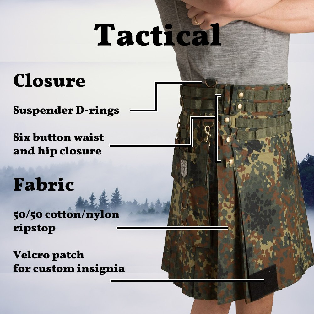 Damn Near Kilt 'Em Men's Tactical Kilt X-Small Military Green by Damn Near Kilt 'Em (Image #5)
