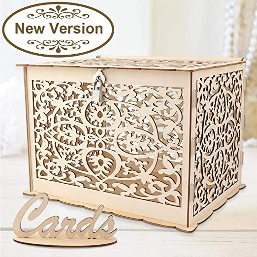 Aytai DIY Rustic Wedding Card Box with Lock and Card Sign Wooden Gift Card Box Money Box for Reception Wedding Anniversary Baby Shower Birthday ...
