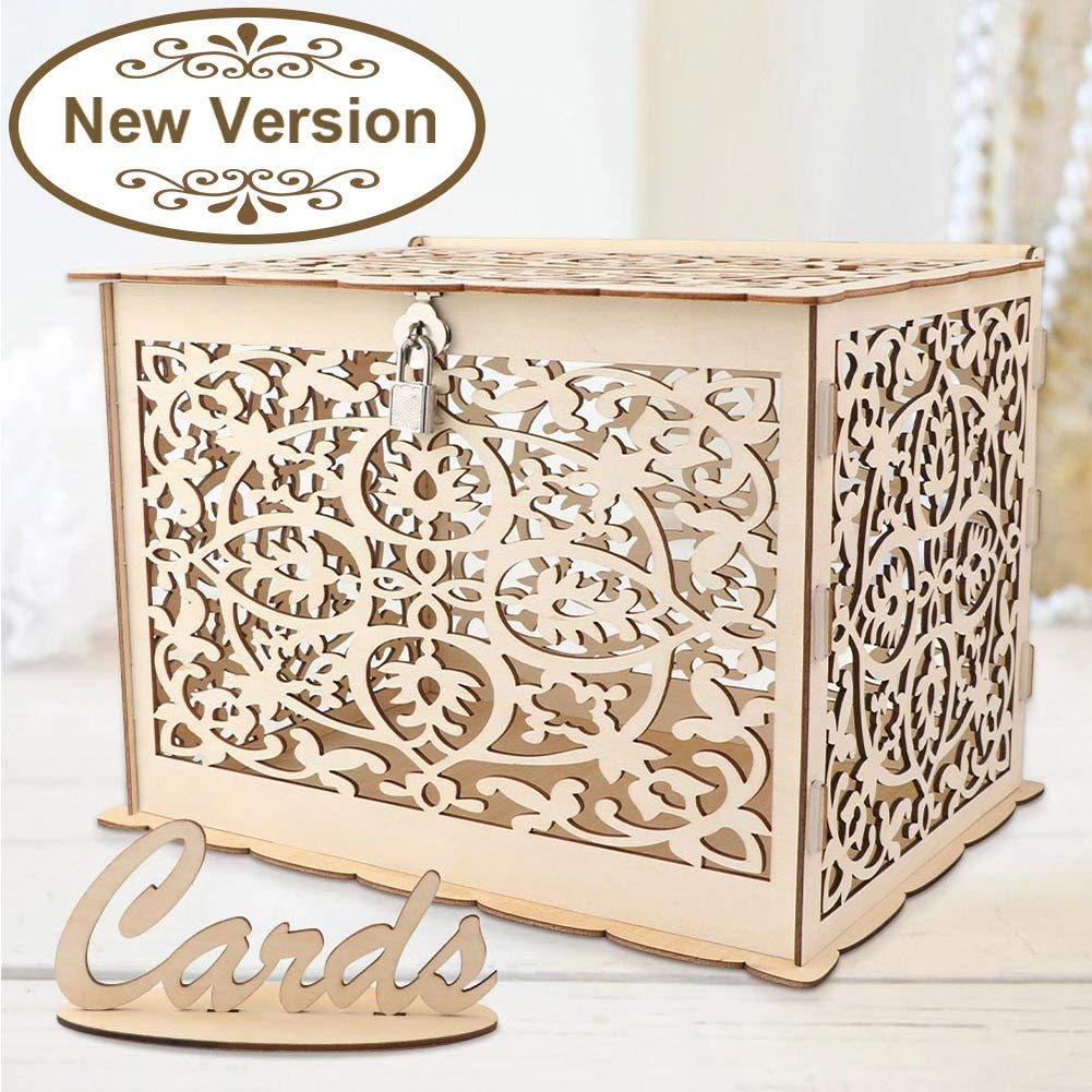 Aytai DIY Rustic Wedding Card Box with Lock and Card Sign Wooden Gift Card Box Money Box for Reception Wedding Anniversary Baby Shower Birthday Graduation Party Decorations by Aytai