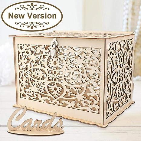 Amazon.com: Aytai DIY rústico hueco caja de dinero de boda ...