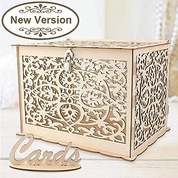 Amazon.com: Wmbetter Caja de cartón de boda con cerradura de ...