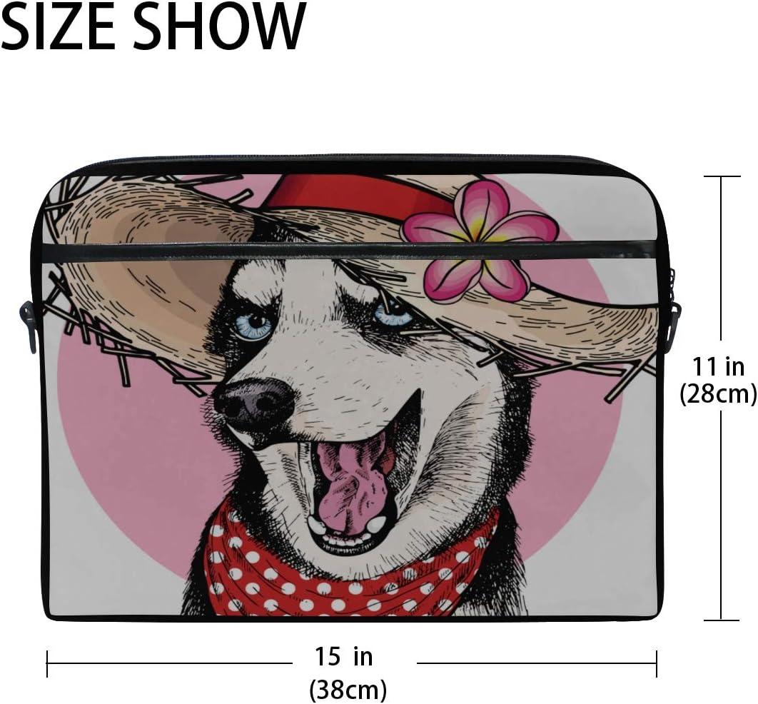 Briefcase Messenger Shoulder Bag for Men Women Laptop Bag Portrait Siberian Husky Dog Wearing 15-15.4 Inch Laptop Case College Students Business Pe