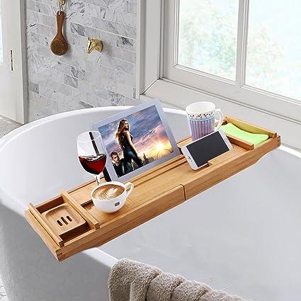 Amazon.com: Adjustable 12 in 1 Bath Tube Caddy Tray, 1/2 Person SPA ...