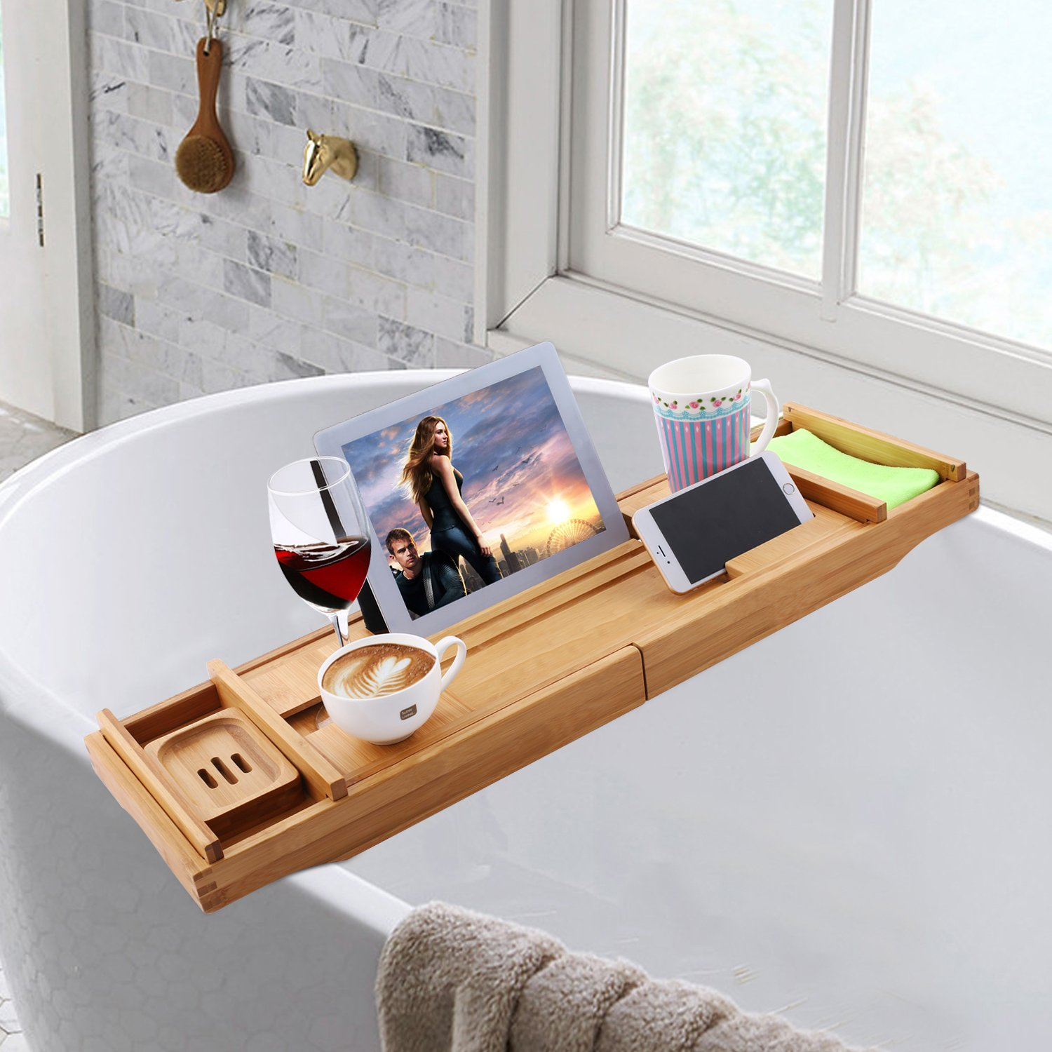 Adjustable 12 in 1 Bath Tube Caddy Tray, 1/2 Person SPA Bamboo Bathtub Caddy, Soap Dish| Wine Glass Holder, Book Reading Rack| Wooden Shelf (Bamboo)