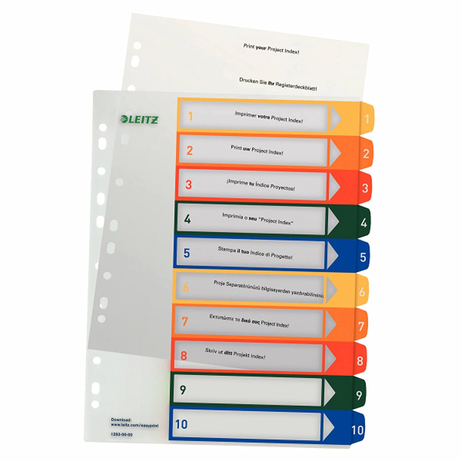 Leitz 12930000 PC de registro, beschriftbares registro, de A4, polipropileno, 1 – 10, multicolor, color multicolor/transparente 1-10 7a9e43