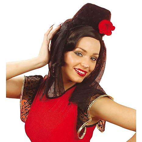 NET TOYS Copricapo donna ballerina flamenco rosa rossa velo nero fiore  spagnola accessorio. Scorri sopra l immagine per ingrandirla c9ec3067d8d2
