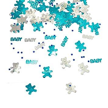 Oblique Unique Konfetti Baby Sternchen Bärchen Blau Türkis Silber 500 Stk Tisch Deko Für Geburt Taufe Baby Shower Junge