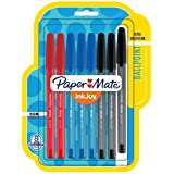 Paper Mate InkJoy 100RT 可伸缩圆珠笔 棍 8-包每包 1 条 商务色彩