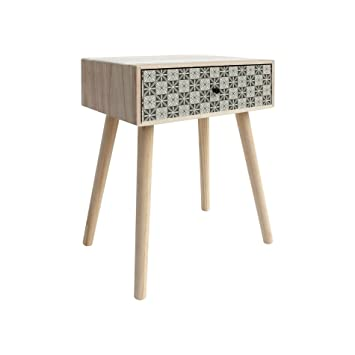 Mobili Rebecca® Couch Table Chest Of Drawers 1 Drawer Wood Light Braun Grey  Modern Style
