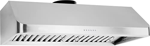 Ancona AN-1239 Chef Series 36 Ducted 600 CFM Under Cabinet Range Hood, Silver
