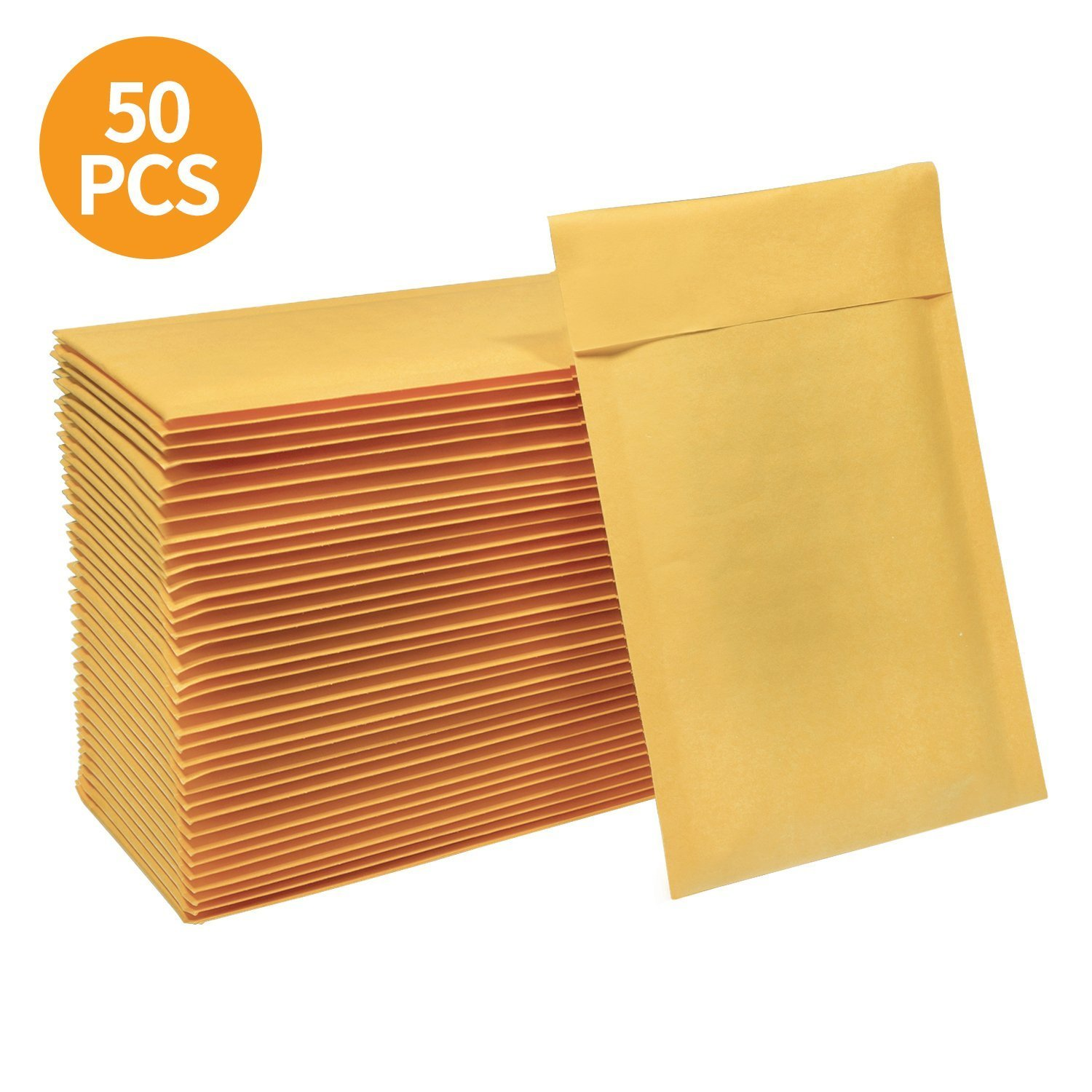 HBlife 4x8 Inches Kraft Bubble Mailers Self Seal Padded Envelopes Shipping Envelopes Mailing Bags, Pack of 50