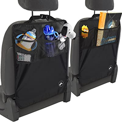 OxGord Kick Mats Back Seat Protector w/Storage Organizer Pocket - 2 Pack 2020 Model Newly Designed - Universal Fit for Car, Truck, SUV, or Van - Rear Auto Bucket Seat Upholstery Protective Cover: Automotive