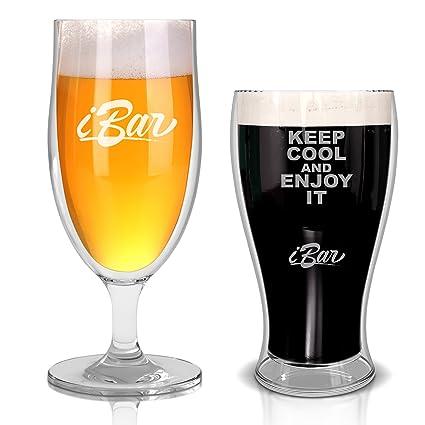 Juego 2 vasos para degustación de cerveza doble pared - Cerveza fresca con diseño