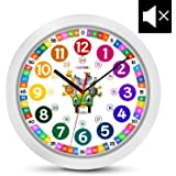 Cander Berlin MNU 1130 Kinderwanduhr (Ø) 30,5 cm Kinder Wanduhr mit lautlosem Uhrenwerk und farbenfrohem Design - Ablesen der Uhrzeit Lernen