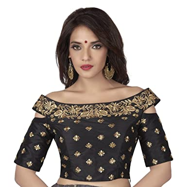 073e26a4d2 Rinkoo Women's Cotton Silk Boat Neck Off Shoulder Padded Saree Blouse (Black,  ...