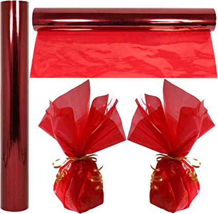 Amazon Com Cellophane Wrap Roll Red 100 Ft Long X 16 In Wide 2 3 Mil Thick Transparent Red Gifts Baskets Treats Cellophane Wrapping Paper Colorful Cello Christmas Holiday Color