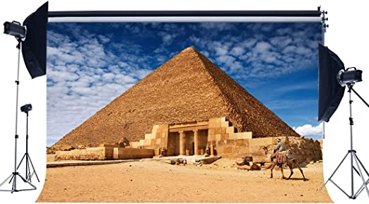 Haosphoto YX474 - Fondo de pirámide de vinilo antiguo egipcio para fotografía de camello del desierto, peregrinación, adoración de peregrinación, cielo azul, nube, blanco: Amazon.es: Electrónica