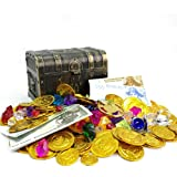 200+ Pieces Pirate Toys Gold Coins and Pirate Gems Pirates Rings Earrings Pearls Jewelery Play set, Treasure for Pirate…